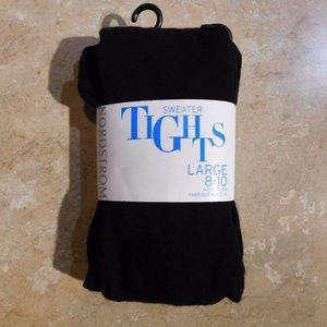 Nordstrom Kids Black Cotton Sweater Tights L 8-10